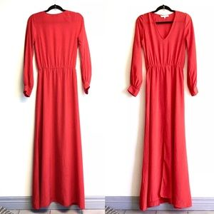 ALEXIS Silk Maxi Dress Red XS